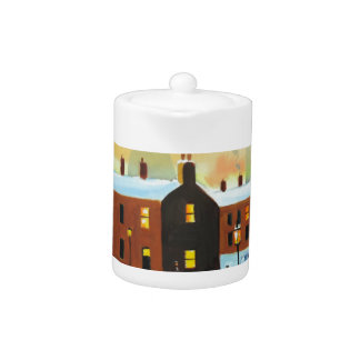 Winter street scene painting teapot