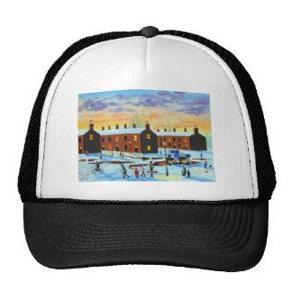 Winter street scene painting trucker hat