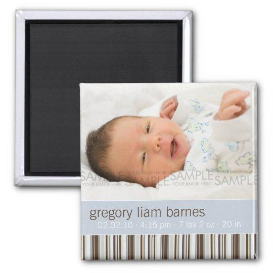 Winter Stripes Blue • Baby Announcement Magnet