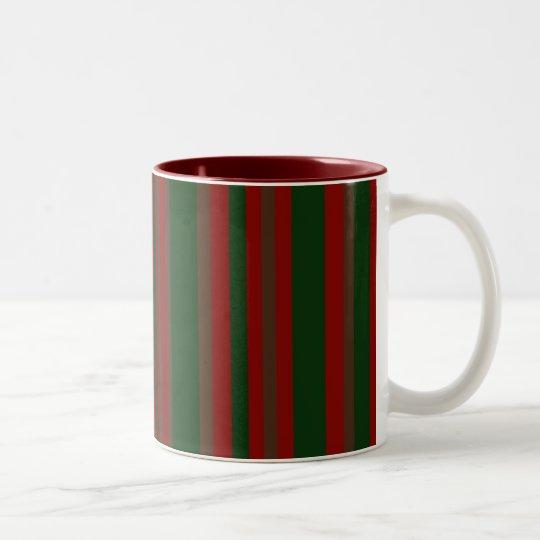 winter stripes Two-Tone coffee mug