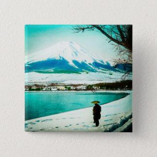 Winter Stroll Beneath Mt. Fuji 富士山 Vintage Japan Button