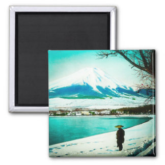 Winter Stroll Beneath Mt. Fuji 富士山 Vintage Japan Magnet