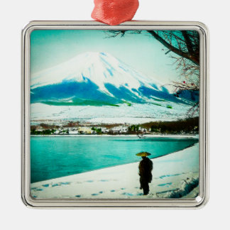 Winter Stroll Beneath Mt. Fuji 富士山 Vintage Japan Metal Ornament