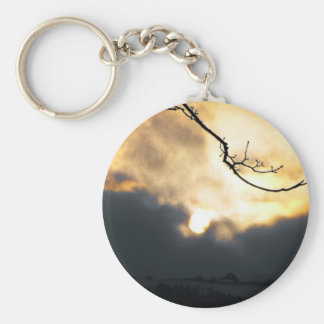 Winter Sun Basic Round Button Keychain