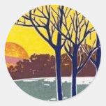 Winter Sun Vintage Art Round Sticker