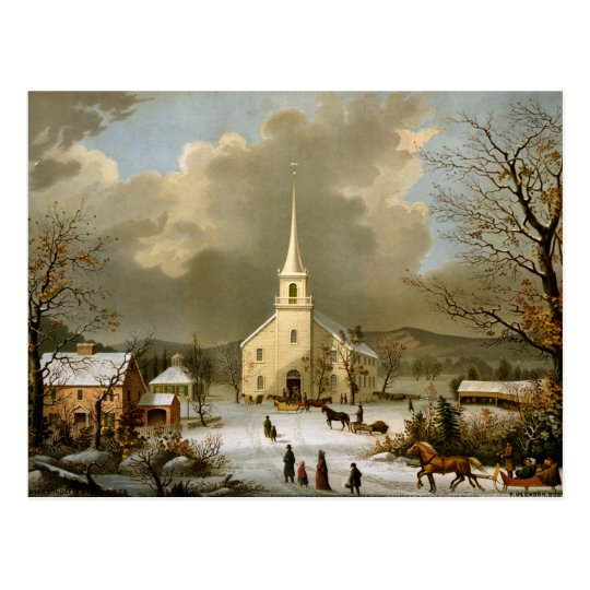 Winter Sunday in Olden Times Postcard