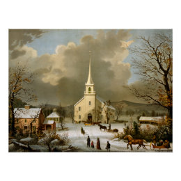 Winter Sunday in olden times Poster