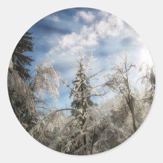 Winter sunlight classic round sticker