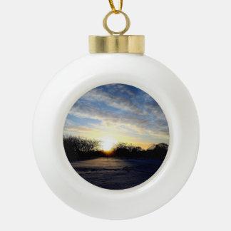 Winter Sunrise Ceramic Ball Christmas Ornament