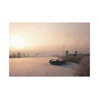 Winter sunrise in the Netherlands Canvas Print