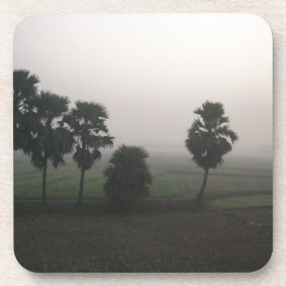 Winter Sunrise on Rural Paddy field Drink Coaster