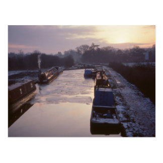 Winter sunrise on the canal postcard