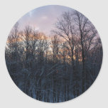 Winter Sunrise Pastel Nature Landscape Photography Classic Round Sticker