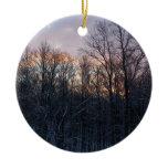 Winter Sunrise Pastel Nature Landscape Photography Double-Sided Ceramic Round Christmas Ornament