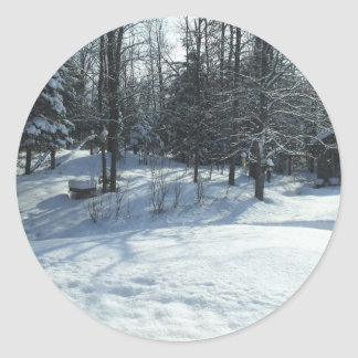 Winter Sunrise Scene Classic Round Sticker