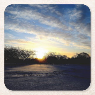 Winter Sunrise Square Paper Coaster
