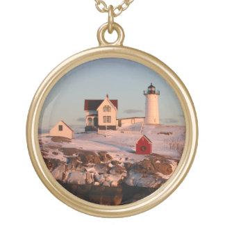 Winter sunset at Nubble Light Coast of Maine Round Pendant Necklace