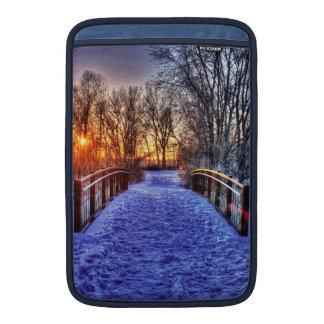 Winter Sunset at the Bridge MacBook Sleeves
