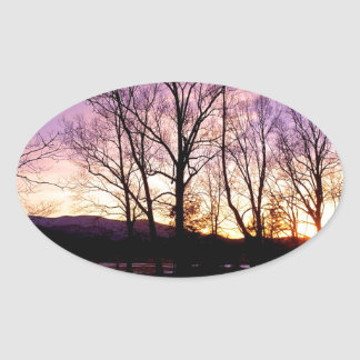 Winter Sunset Cades Cove Mountains Oval Sticker