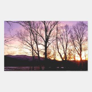 Winter Sunset Cades Cove Mountains Rectangular Sticker
