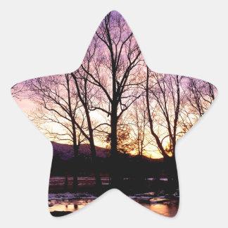 Winter Sunset Cades Cove Mountains Star Sticker