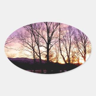 Winter Sunset Cades Cove Mountains Sticker