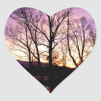 Winter Sunset Cades Cove Mountains Heart Stickers
