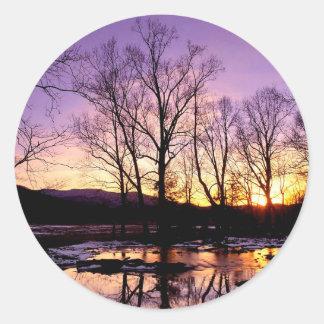 Winter Sunset Cades Cove Mountains Round Sticker