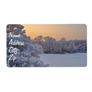 Winter sunset label