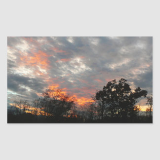 Winter Sunset Nature Landscape Photography Rectangular Sticker