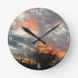 Winter Sunset Nature Landscape Photography Round Clock