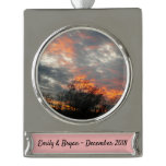 Winter Sunset Nature Landscape Photography Silver Plated Banner Ornament