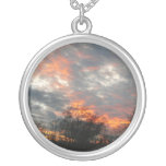 Winter Sunset Nature Landscape Photography Silver Plated Necklace