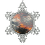 Winter Sunset Nature Landscape Photography Snowflake Pewter Christmas Ornament