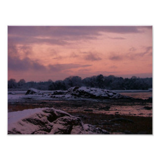 winter sunset on kingston bay rocky nook posters