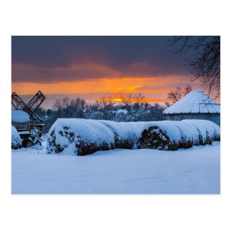 Winter Sunset on the Farm Postcard