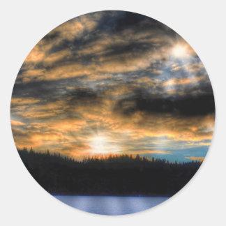 Winter Sunset over Frozen Lake Nature Scene Classic Round Sticker