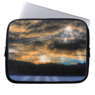 Winter Sunset over Frozen Lake Nature Scene Computer Sleeve
