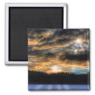 Winter Sunset over Frozen Lake Nature Scene Magnet