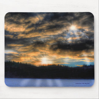 Winter Sunset over Frozen Lake Nature Scene Mouse Pad
