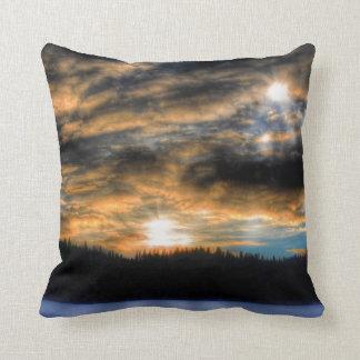 Winter Sunset over Frozen Lake Nature Scene Throw Pillow