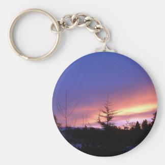Winter Sunset over Strathspey Keychain