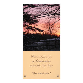 Winter sunset photo card