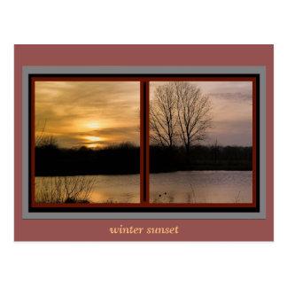 Winter Sunset Scenic Window Post Card
