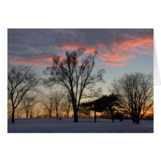 Winter Sunset & Trees Blank Greeting Card