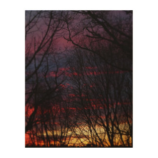 Winter Sunset Wood Wall Decor