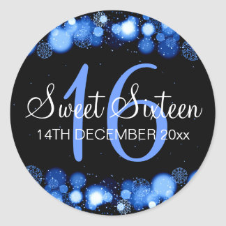 Winter Sweet 16 Birthday Party Blue Bokeh Lights Classic Round Sticker
