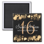 Winter Sweet 16 Birthday Party Gold Bokeh Lights 2 Inch Square Magnet