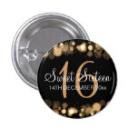 Winter Sweet 16 Birthday Party Gold Bokeh Lights Button