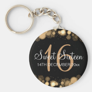 Winter Sweet 16 Birthday Party Gold Bokeh Lights Keychain